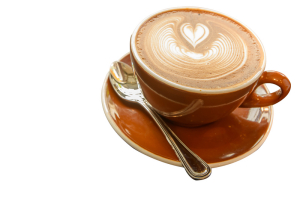 Hot Mocca Coffee with latte art in heart shape